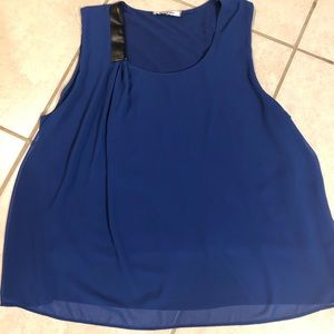 DKNYC Blue Sleeveless Chiffon Blouse